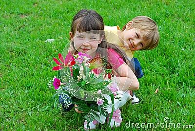 Kids in a meadow
