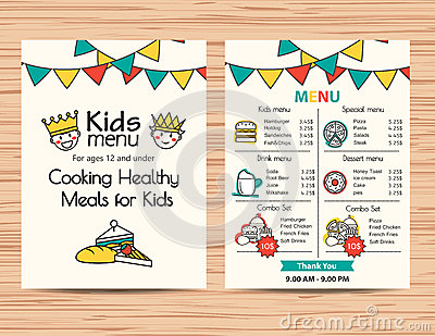 Kids Meal Menu Vector Template Restaurant Menu Design – Free Kids Menu Templates