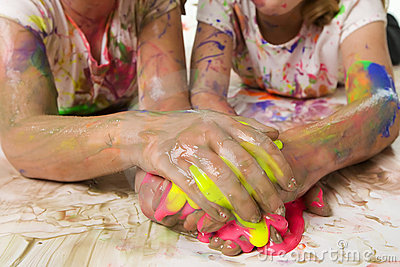 Kids with messy paint