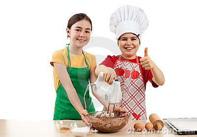 Kids mixing dough