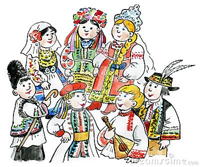 Kids multicultural traditional costu