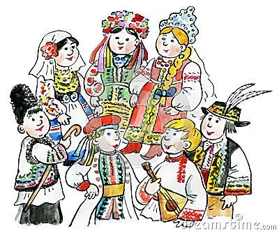 Kids multicultural traditional costu