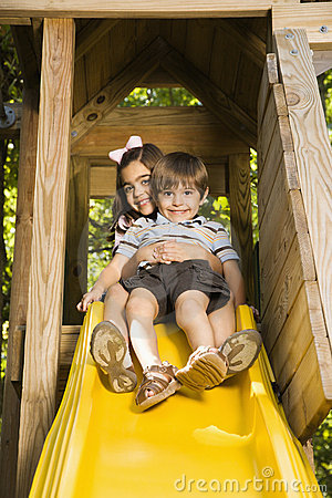 Free Kids On Slide. Royalty Free Stock Photos - 4246728