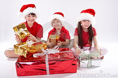 Kids Opening Christmas Gifts