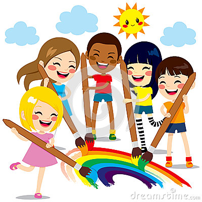 Free Kids Painting Rainbow Stock Photography - 41181392