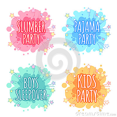 Free Kids Party Logo. Four Badges For Kids Party In The Spot Shape. Stock Image - 69018861