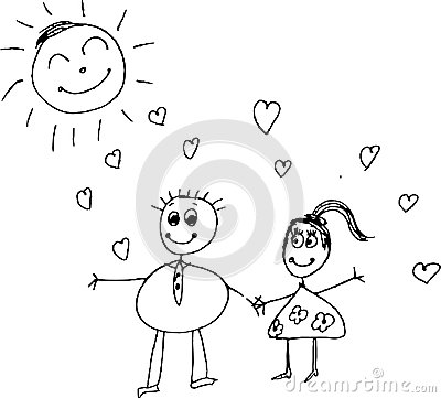 Kids pencil drawing of a couple royalty free stock image