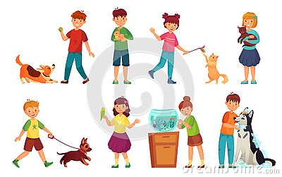Kids with pets. Kid hug pet, child love animals and playing with dog or cute cat cartoon vector illustration set Vector Illustration