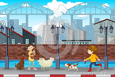 Kids and pets urban scene Vector Illustration