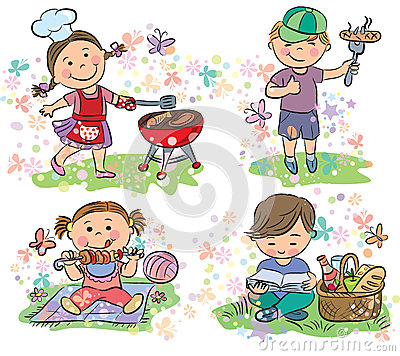 Kids on picnic with barbecue