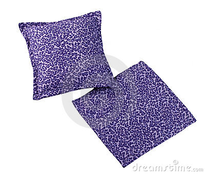 Violet cushion pillow and case isolated
