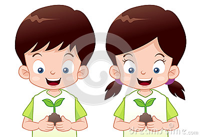 Kids is planting small plant
