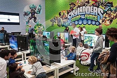 Kids play at Games Week 2013 in Milan, Italy Editorial Photo
