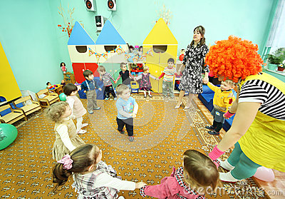 Kids play in kindergarten Editorial Image