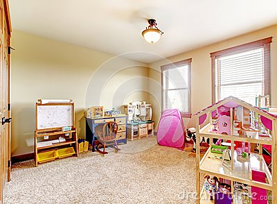 Kids play room with toys. Interior.
