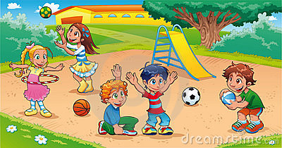 Playing at the Playground Clip Art