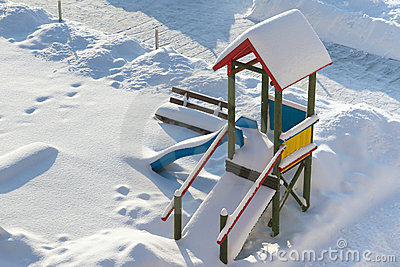 Kids playground in the winter time
