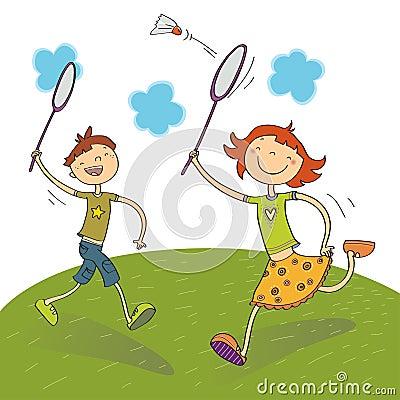 Free Kids Playing Badminton Royalty Free Stock Photo - 9621625