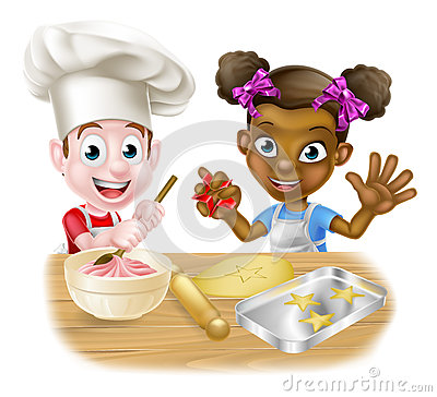 free cartoon black children baking cakes