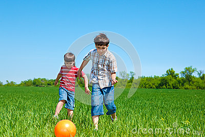 Kids playing with the bal