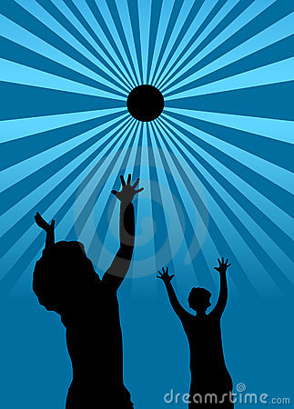 Kids playing with a ball silhouette