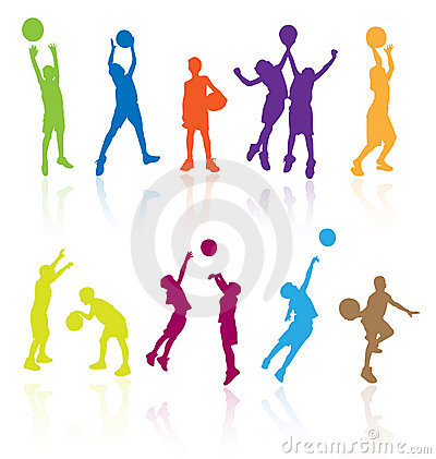 Free Kids Playing Basketball Kid Play Sports Child Children Silhouettes Silhouette Girls Girls Boy Boys Player Players Basket Ball Game Stock Photos - 11910693