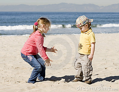 Kids are playing on beach