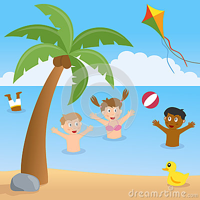 Kids Playing on a Beach with Palm Tree
