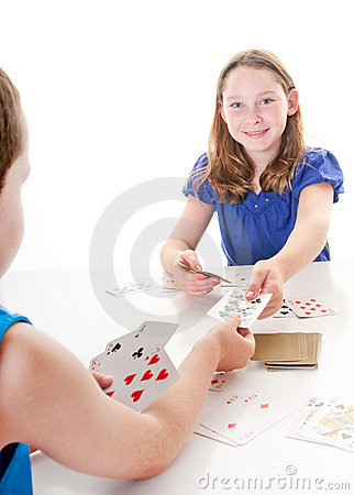 Kids playing card game