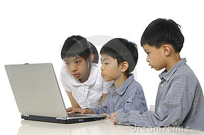 Kids playing computer