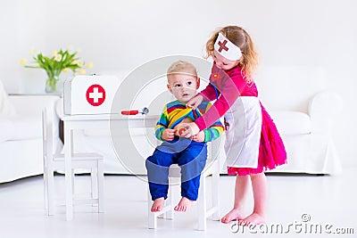 Kids Playing Doctor Stock Photo - Image: 49688465