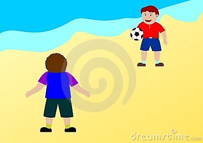 Kids playing football on the beach