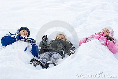 Kids Playing in Fresh Snow