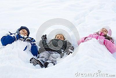 Kids Playing in Fresh Snow