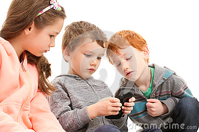Kids playing games on mobile phone