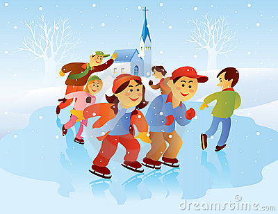 Kids Playing Ice Skating