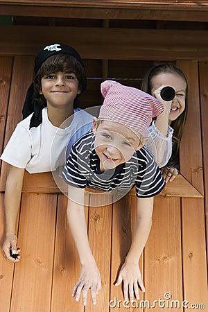 Free Kids Playing In Playhouse Royalty Free Stock Photos - 29662418