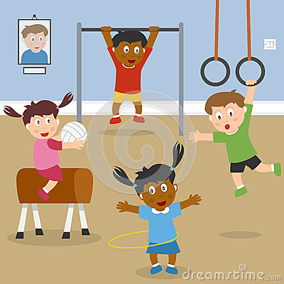 Free Kids Playing In The School Gym Royalty Free Stock Image - 25602746