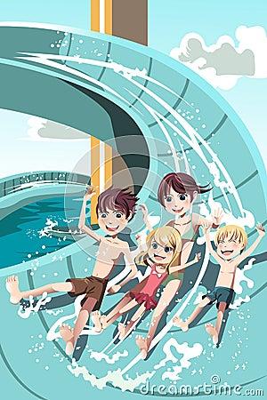 Free Kids Playing In Water Slides Stock Image - 24940241