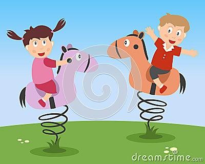 Kids Playing on Kiddie Rides