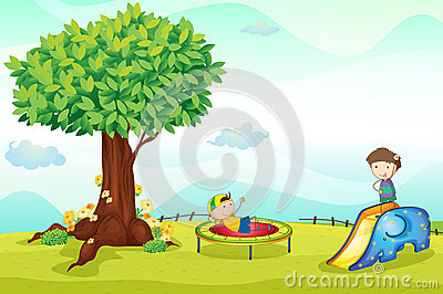 Kids playing in nature