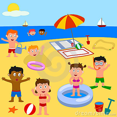 Free Kids Playing On The Beach Stock Image - 8512301