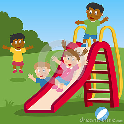 Free Kids Playing On The Slide Stock Photo - 25601970