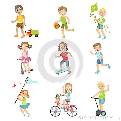 Kids Playing Outside Set Vector Illustration