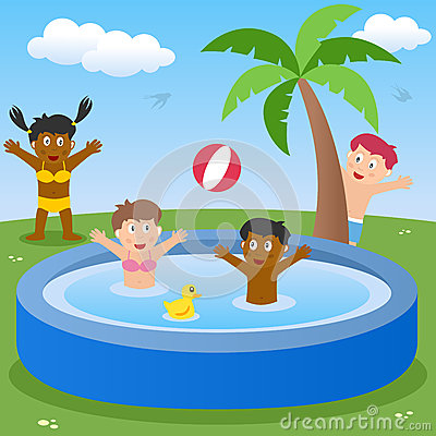 Kids Playing in Paddling Pool