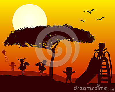 Kids Playing Silhouettes at Sunset