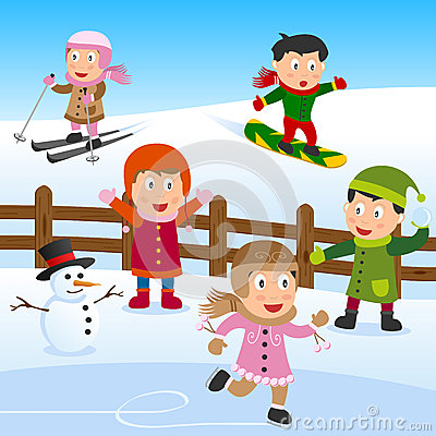 Kids Playing on the Snow