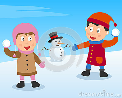 Kids Playing with Snow Balls