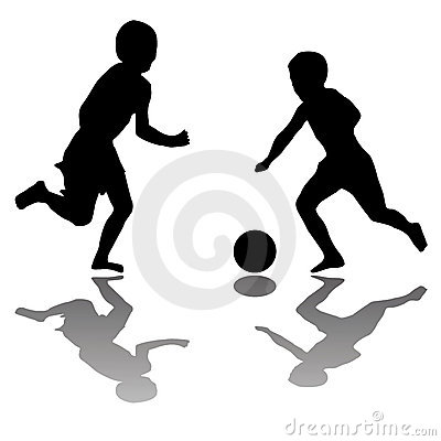 Kids playing soccer isolated on white