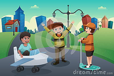 Kids playing in the street of a suburban neighborhood